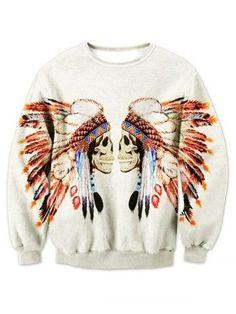 Round Neck Tribal Skull Printed Sweatshirt
