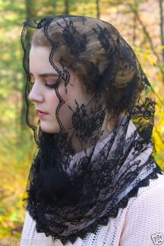 Winter-2015-Lovely-Black-French-Lace-Infinity-Chapel-Veil-Mantilla-Latin-Mass