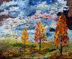 """#Autumn Storm #Fall Colors #Oil #Painting by Ginette"""" by Ginette Callaway"""