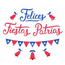 Felices Fiestas Patrias, Spanish for Happy National Holidays. Dieciocho, Independence Day of Chile. Text lettering, Copihue (national flower) and Chilean flags. Chilean Flag, Preschool Newsletter Templates, National Holidays, Free Vector Art, Vector Icons, Web Banner, Vector Design, Independence Day, Spanish