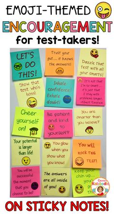 Do you want to encourage your students with positive notes at test taking time? Are you looking for unique ways to boost your student's motivation and confidence? These encouraging messages can be used during any time of year with any grade level in order Notes Autocollantes, Sticky Notes, Lunch Notes, Staar Test, Standardized Test, Test Taking Strategies, Encouragement, Test Anxiety, Test Day