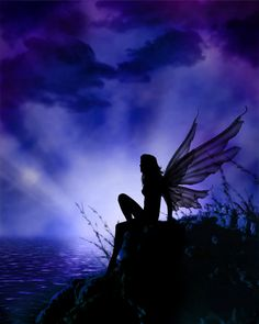 The Night Fairy overlooks the dark water. She brings the blue and purple glow that insures restful sleep and beautiful, prophetic dreams. We all love her deeply. ~M More