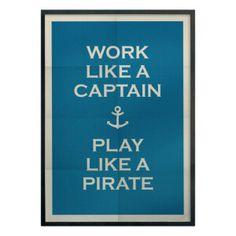 """Toile encadrée """"Captain"""" bleue et blanc cassé 50 x 3 x 70 cm"""