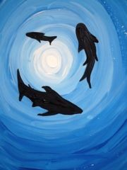 Tints and Sharks. I did this, and had the kids paint palm tree silhouettes…Bu… Tints and Sharks. I did this, and had the kids paint palm tree silhouettes…But, I LOVE the sharks! Painting For Kids, Art For Kids, Shark Painting, Value In Art, 4th Grade Art, Ecole Art, School Art Projects, Art Lessons Elementary, Ocean Art