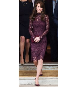 Kate Middleton steps out in a burgundy lace Dolce & Gabbana dress. See all her best looks on BAZAAR: