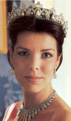 Princess Caroline of Monaco wearing her pearl drop tiara (and a fringe tiara as a necklace).