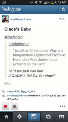 This cracked me up, but I still think Jace is just a Herondale and Clary is just a Fairchild.