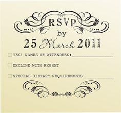 RSVP rubber stamp for custom DIY wedding invitations -style 6020RSVP  - custom wedding stationary.