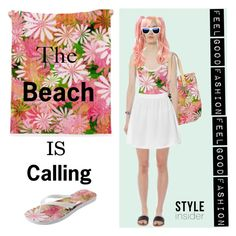 "My Fashion Collection is made to feel Good""        *See 100 more looks'     Feel Good Fashion @ www.marijkeverkerkdesign.nl      Boho beach blanket, boho one piece swimsuit, boho beach slippers, white a-line mini skirt, boho beach bag, Designer sunglasses, Designer wrist watch"