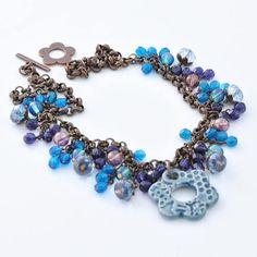 Denim Blue Textured Floral Ceramic Pendant Necklace, Czech Glass Beaded Fringe, Vintage Style Chain, Pink Luster, Purple Tanzanite, Light Blue, Designer Jewelry, Handmade, #ArtwyrksJewelry, #GlitznGlaze