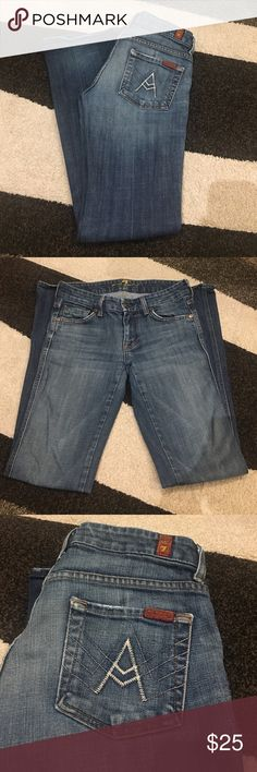 "7 for all mankind jeans In great condition besides one of the bottom worn out but no hole shown in picture. Inseam 31"" 7 For All Mankind Jeans Boot Cut"