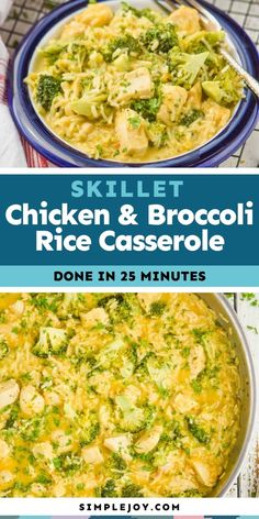 This easy Skillet Chicken Broccoli Rice Casserole is a simple easy 25 minute meal that your family will love. Perfect for busy weeknights. Turkey Noodle Casserole, Chicken Broccoli Rice Casserole, Skillet Chicken, Brunch Recipes, Easy Dinner Recipes, Great Recipes, Favorite Recipes, Weeknight Meals, Quick Meals