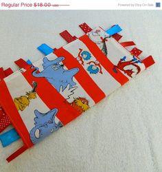 Dr seuss ribbon tag blanket