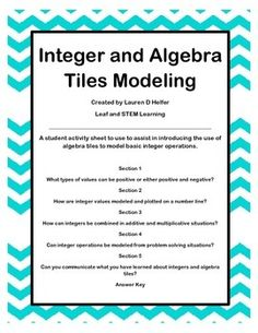 FREE Model the use of algebra tiles to show the value of integers and basic integer operations using this five section guided activity.  Students can work whole group, individually or ideally in guided math groups with the teacher.The activity includes not only arithmetic calculations, but also number line use, modeling, and word problems so that the integers can be introduced in context! 6-7 Algebra Lessons, Guided Math Groups, Bell Ringers, Integers, Number Sense, Arithmetic, Word Problems, Problem Solving, Middle School