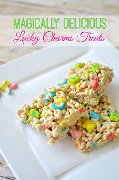 Lucky Charms Treats Recipe: Great Food Craft For St. Patric;s Day #stpatricksday #recipe #food #luckycharms