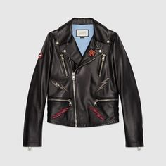 Leather jacket with appliqués