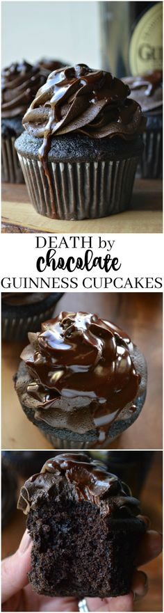 These Death by Chocolate Guinness Cupcakes are rich and decadent, loaded with stout beer and Irish whiskey (death by chocolate recipes) Baking Cupcakes, Yummy Cupcakes, Cupcake Recipes, Dessert Recipes, No Bake Desserts, Just Desserts, Delicious Desserts, Guinness Cupcakes, Yummy Treats