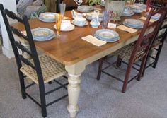 7 Foot Farm Table with Vintage in Millstone