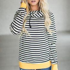 2b3d9146608b2 Autumn T-shirt Plus Size Womens Long Sleeve Hoodie Sweatshirt Striped  Hooded Pullover Tops Tee Shirt Femme Camisetas Mujer