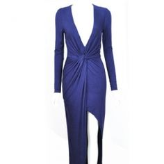 J41805 Europe fashion v-neck slashed up dress blue