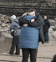 This is so sweet: David comforting Billie after filming the beach scene in Doomsday. She was really distressed.