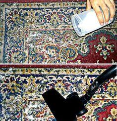 Lavagem a Seco Caseira Misture partes iguais de: Amido de milho + Bicarbonato de sódio; Adicione algumas especiarias ou folhas secas perfumadas, como canela, cravo e lavanda; Misture o conteúdo completamente e polvilhe o pó por todo o tapete.  Passo a passo: https://www.facebook.com/pages/Chiquinha-Artesanato/345067182280566