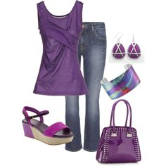 A fashion look from April 2013 featuring ruffle top, vintage jeans and studded purse. Browse and shop related looks.