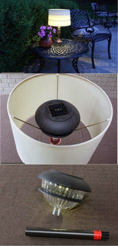 DIY Outdoor Solar Table Lamp. Love this idea!                                                                                                                                                                                 Mais