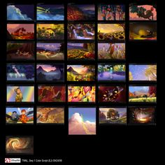 Artofellenjin: Color scripts from Lost treasure - Ellen Jin Color Script, Animation Background, Visual Development, Tinker Bell, Scripts, Color Theory, Art Tips, Storyboard, Mood Boards