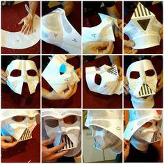 Darth Vader Cosplay, Darth Vader Mask, Star Wars Helmet, Vader Helmet, Paper Folding Crafts, Paper Crafts, Star Wars Origami, Cardboard Costume, Star Wars Crafts