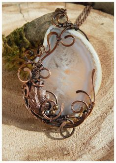 Stone Cut Necklace Copper wire pendant Agate geode Fairy fantasy style Romantic gift for girl Icy stone pattern