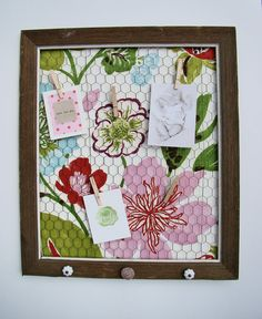 Framed Wire Photo Holder/Memo Board/Earring by FineAndShabby