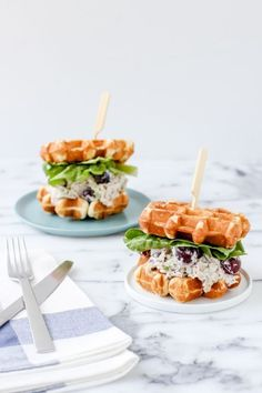 A New Take on Chicken and Waffles: Homemade Chicken Salad Waffle Sandwiches - Food - Sonoma Chicken Salad, Homemade Chicken Salads, Savory Waffles, Homemade Sandwich, Waffle Sandwich, Chicharrones, Waffle Recipes, Pancake Recipes, Crepe Recipes