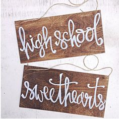 This set of two High School, Sweethearts Wedding signs are great for the back of your chairs at the reception. The signs make great details