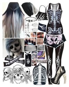 """""""Halloween Costume Idea: Skeleton"""" by i-am-the-one-and-only ❤ liked on Polyvore featuring Topshop, See You Monday, Dsquared2, Comeco and BP."""