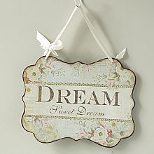 Metal Plaque with Satin Ribbon-Dream