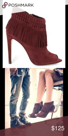 """Fringe suede booties👢 Super stylish and adorable fringe burgundy open toe booties. US8 fit true to size. Zipper on the inside. Comfy heels of 4"""" 👍🏻Price is Firm!!! Low ballers will be ignored. Sorry! 😘 Rebecca Minkoff Shoes Ankle Boots & Booties"""