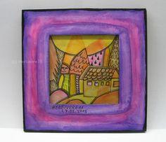 IM WUNDERLAND von Herbivore11 Unikat Minibild Inchie Rahmen Land Haus lila pink