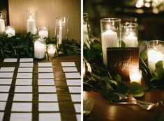 {{Spring wedding at the Chicago Athletic Association. Escort card table garland, farm table garland, and candles.}}  Flowers by Pollen, pollenfloraldesign.com ||  Photo by Katie Kett Photography, katiekettphotography.com