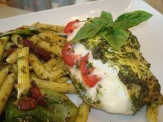 Pesto Threesome     1) Vegan Penne w Sun-dried Tomatoes & Spinach    2)  Vegetarian Pesto Penne w Mozzarella & Tomatoes    3)  Pesto Chicken Stuffed w Mozzarella & Tomatoes    See cooking show & video at http://youtu.be/o5-zxueFSDE
