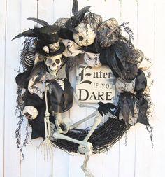 Halloween wreath, Steampunk Skeleton Halloween Wreath, Enter if you Dare, Skeleton Wreath, Fall Decor, Halloween Decoration,Steampunk wreath