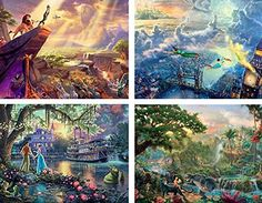 """Ceaco 4-in-1 Multi-Pack Thomas Kinkade Disney Dreams Collection Jigsaw Puzzle ( 500 Pieces )  Thomas Kinkade - The Disney Dreams Collection - 4 in 1 Multi-PackThomas Kinkade's """"The Disney Dreams Collection"""" consists of paintings inspired by memorable scenes from iconic Walt Disney films. Previously only available in Walt Disney theme parks, the collection is now available on Amazon.com.The collection includes four 500 piece jigsaw puzzles, proudly made in the USA by Ceaco. Thomas Kinkade Disney, Thomas Kinkade Puzzles, Disney Jigsaw Puzzles, League Of Legends Game, World Famous Artists, Disney Theme, Disney Fun, Disney Films, Artwork Design"""