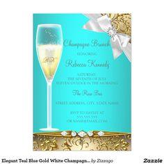 Elegant Teal Blue Gold White Champagne Brunch 5x7 Paper Invitation Card