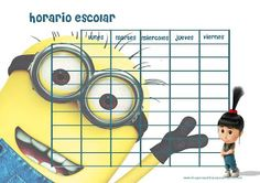 Imprimir horarios escolares de minions
