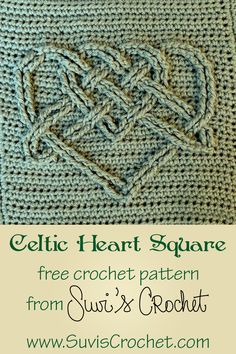 Celtic Heart Square – free crochet pattern from Suvi's Crochet A square with two interwoven hearts in a Celtic knot. This free crochet pattern. Crochet Square Blanket, Crochet Square Patterns, Crochet Blocks, Crochet Squares, Crochet Blanket Patterns, Crochet Motif, Crochet Stitches, Free Crochet, Granny Squares