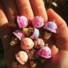 My little polymer clay ice creams! #kawaii #kawaiiclaycharms #polymerclaycharms #claycharms