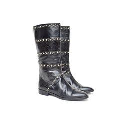 size 6 Italian animal skin print STUDDED leather riding boots - $105