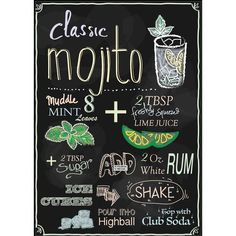 Mojito recipe designed on chalkboard (fun drinks alcohol recipes) | My... ❤ liked on Polyvore featuring home and kitchen & dining