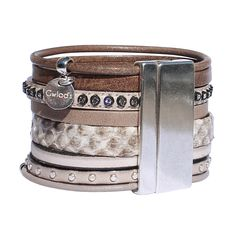 Bracelet manchette cuir Savane