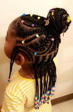 Braids with beads for girls kids children hair daughters 37 new Ideas Little Girl Braids, Black Girl Braids, Braids For Kids, Braids For Black Hair, Girls Braids, Kids Braids With Beads, Toddler Braids, Toddler Braided Hairstyles, Lil Girl Hairstyles